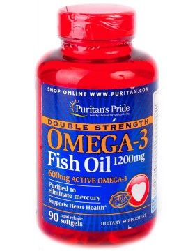 Фото Puritan's Pride Omega-3 Double Strength 1200mg (90 капс)
