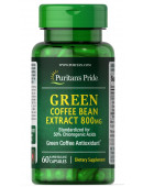 Купить Без кофеина Puritan's Pride Green Coffee Bean Extract 800 mg (cрок: 06.2020) (60 капс)