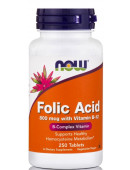 NOW Folic Acid (800 mg) vitamin B-12 (250 таб)